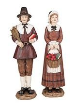 Pilgrim Couple with Basket and Corn Stalk 12 x 3 Resin Harvest Figurine ... - $24.49