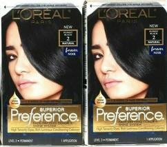 2 L'Oreal Paris Superior Preference Purest Black 2 Natural Forever Permanent Dye - $25.99
