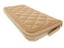 CHANEL Classic Long Zip Wallet Caviar Leather Beige Quilted AP0242 CC Au... - $1,336.75