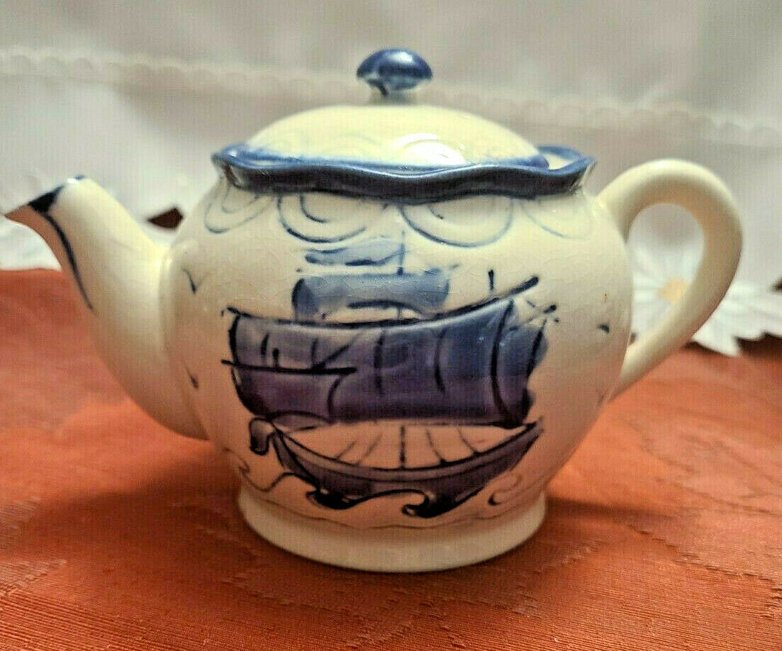 Vintage Japan Embossed Cobalt Blue w Sailboat Teapot, Hand Painted