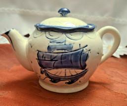 Vintage Japan Embossed Cobalt Blue w Sailboat Teapot, Hand Painted image 1