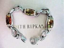 JUDITH RIPKA CITRINE W DIAMOND STERLING SILVER & 18K GOLD LINK BRACELET ... - $649.95