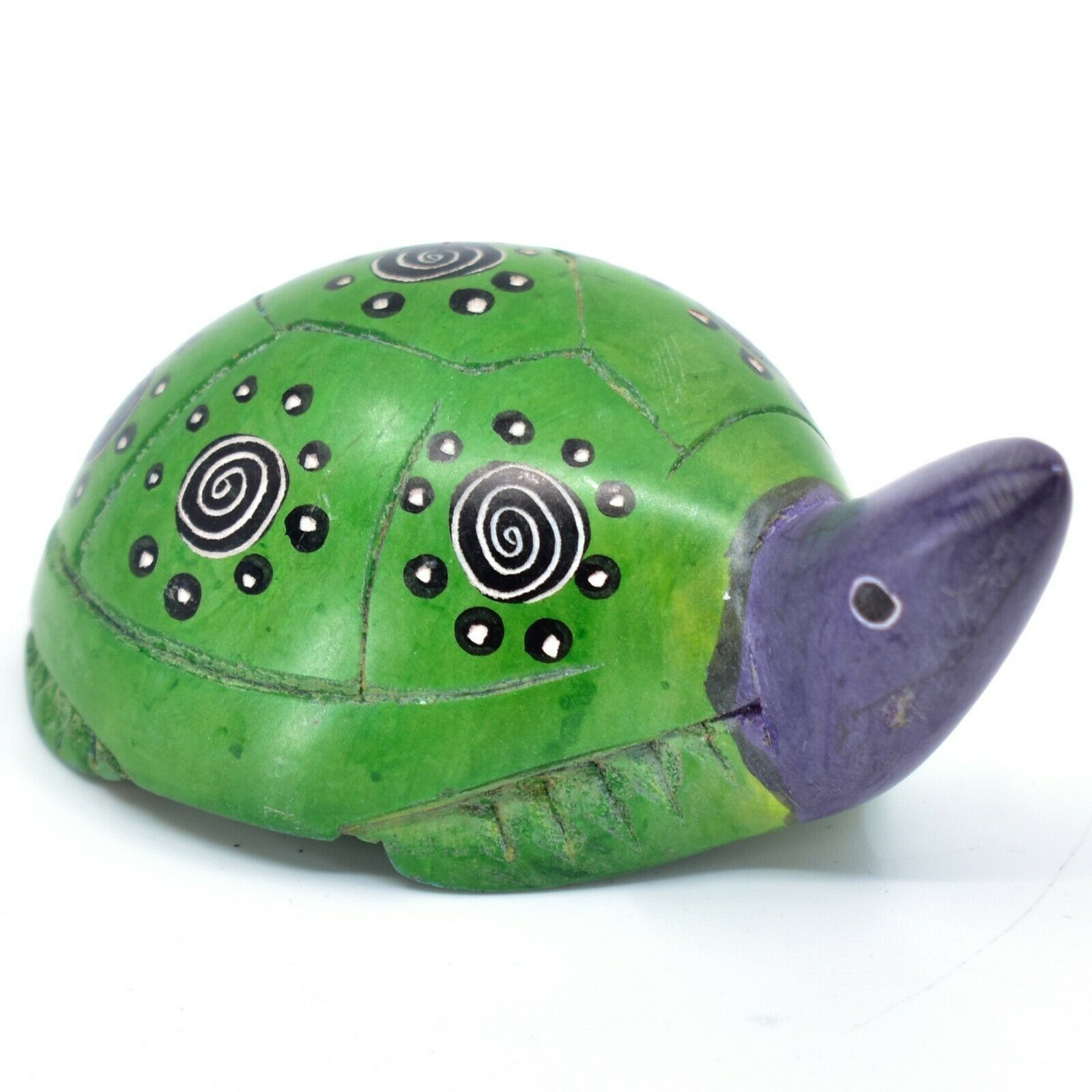 Hard Carved Kisii Soapstone Sky Green & Purple Turtle Figurine Made in Kenya