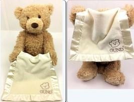 Baby Gund Peek A Boo Bear Satin Trim Blanket Battery Operated TESTED Stu... - $13.98