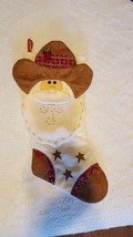 "NNT 19"" PADDED WESTERN COWBOY SANTA CLAUS CHRISTMAS STOCKING, APPLIQUE, ... - $9.89"