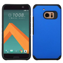 For HTC 10 Hybrid Rubber Dual Layers Hard Soft Protective Case Cover Thin BLUE - $6.44