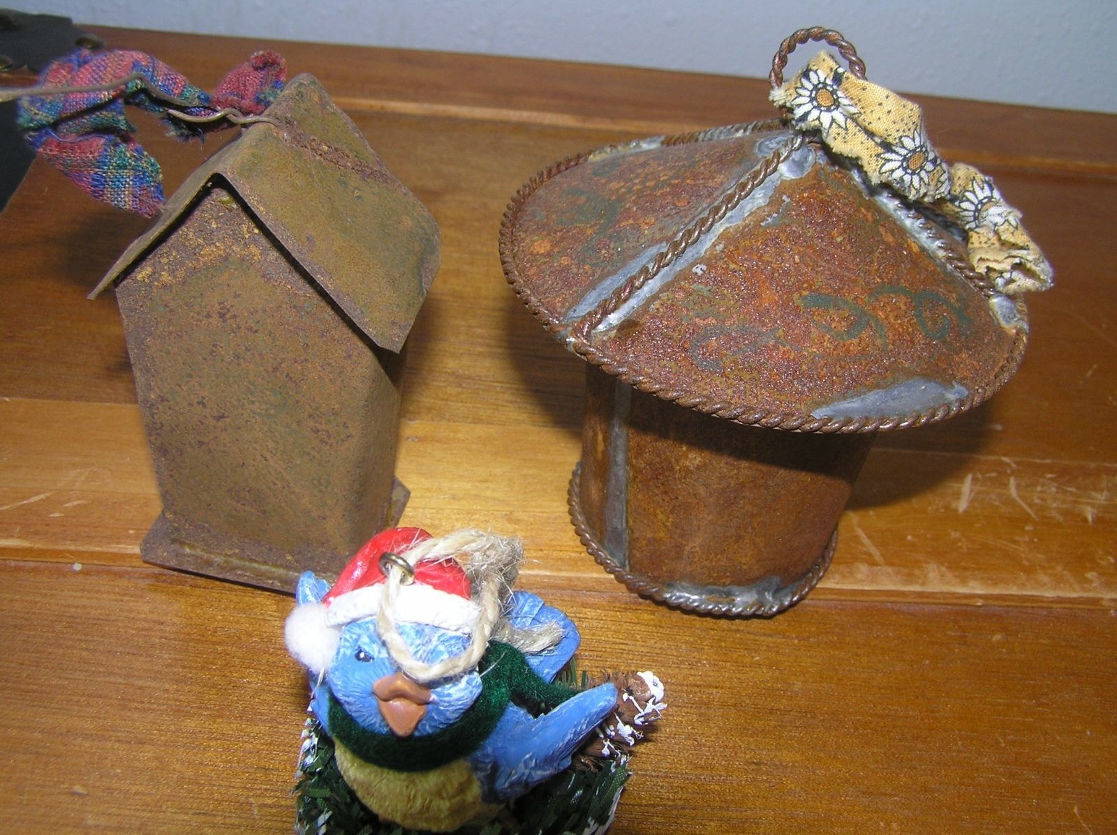 Lot of 2 Recycled Metal Birdhouses & Resin Bluebird Christmas Tree Ornaments –