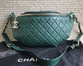 RARE AUTHENTIC CHANEL ARMY GREEN QUILTED LEATHER FANNY PACK WAIST BAG GHW