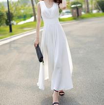 PF253 sexy deep v sleeveless chiffon swing dress  size s-xl, white - $18.80