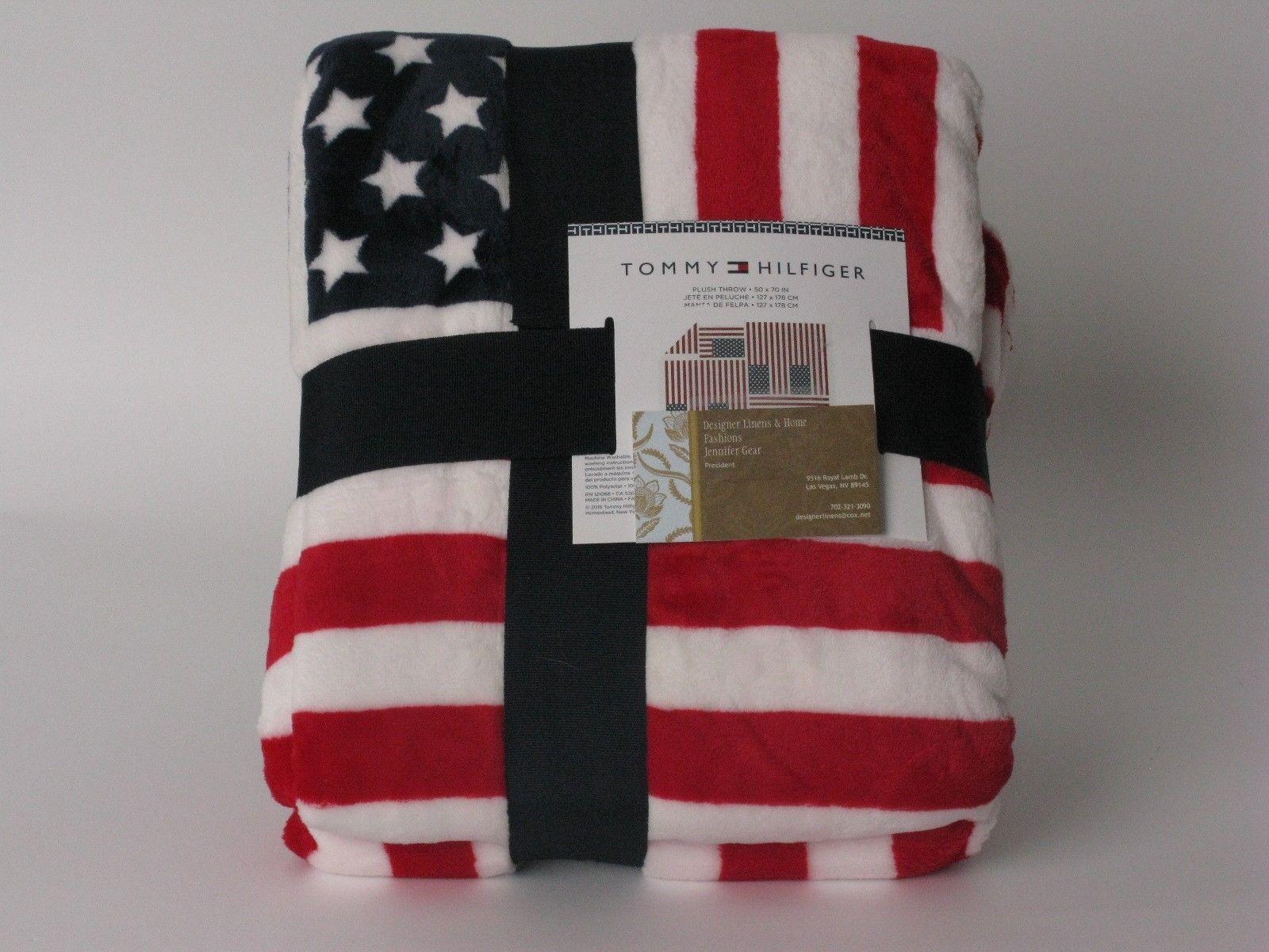 Tommy Hilfiger Flag Plush Throw Blanket Nwt