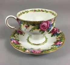 Paragon Tapestry Rose Fine Bone China Gold Leaf Trim Cup & Saucer 1940s - $43.61
