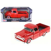 1958 Chevrolet Apache Fleetside Pickup Truck Red 1/24 Diecast Model Car ... - $29.31