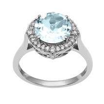 London Blue Topaz,White Topaz Sterling Silver Ring Shine Jewelry Size-9 ... - €23,49 EUR