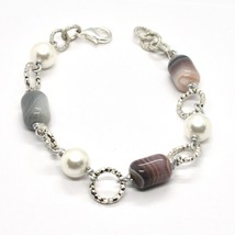 Bracelet the Length Aluminium 21 Inch with Chalcedony and Grey Pearl image 1