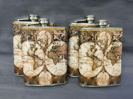 Set of 4 World Map D 3 Flasks 8oz Stainless Steel Hip Drinking Whiskey - $26.68
