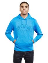 Hugo Boss Men's Stretch Cotton Blend Athletic Logo Hoodie Sly 50388678 Blue