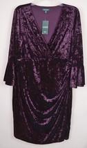 LAUREN RALPH WOMENS Velvet Dress V-neck Draped Bell Sleeve Sheath Burgun... - $26.00