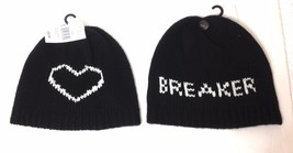 $25 Betsey Johnson HEART BREAKER BEANIE Black&White Knit Winter Ladies&T... - $10.12 CAD