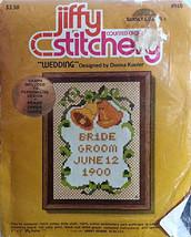 Wedding Counted Cross Stitch Kit Vintage 5x7 Personalized Jiffy Stitcher... - $13.99