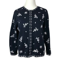 Talbots Embroidered Cardigan Sweater Petites Medium Floral Full Zip Up W... - $33.72