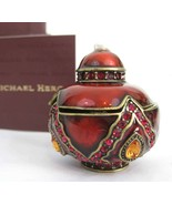 MICHAEL HERO Enameled Jeweled Deep Red Trinket Box Swarovski Crystals NI... - €49,92 EUR