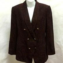 Dana Buchman 10 Blazer Jacket Double Breasted Purple Pink Gold Crest Button - $21.55