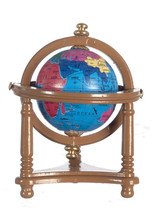DOLLHOUSE MINIATURES SMALL WALNUT GLOBE WITH STAND #T6332 - $9.89