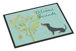 Caroline's Treasures BB7630JMAT Welcome Friends Black Tan Dachshund Indoor or Ou