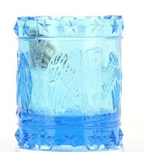Vintage Glass Toothpick Holder Blue Kanawha American Eagle Patriotic Drum