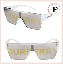 BURBERRY LOGOMANIA 4291 Shield White Gold Mirrored Sunglasses BE4291S Un... - $197.01