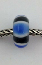 Authentic Trollbeads Blue Symmetry Murano Glass Bead Charm 61411, New - $20.30