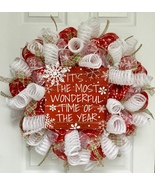 Its The Most Wonderful Time Of The Year Holiday Wreath Handmade Deco Mesh - $94.99