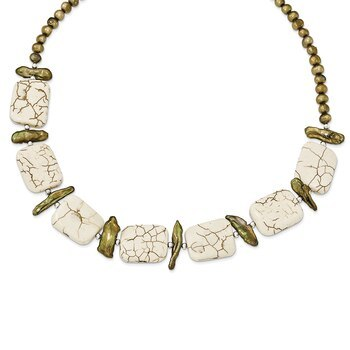 Primary image for Lex & Lu Sterling Silver Reconstructed Magnesite & FW Cult. Pearl Necklace 18""