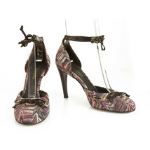 Missoni Purple Hues Fabric Brown Patent Leather Ankle Strap Heels pumps shoes 37 - £184.63 GBP