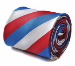 Frederick Thomas red, white & blue striped design mens tie FT1728 Ranger... - $26.21