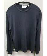Men's CALVIN KLEIN Merino Wool Crew-Neck Sweater, Navy Blue, Med - $28.31