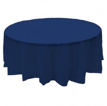 "6 PACK, 84"" Navy blue Round Plastic Table Cover, Economy Table Cloth Reu... - £12.24 GBP"