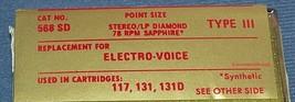 568-SD STEREO RECORD PLAYER NEEDLE for EV 117 EV 131 EV 131D Cartridges 358-DS73 image 2