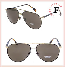 BURBERRY TOP BAR FLAT 3108 Aviator Matte Black Gold Sunglasses BE3108S U... - $197.01
