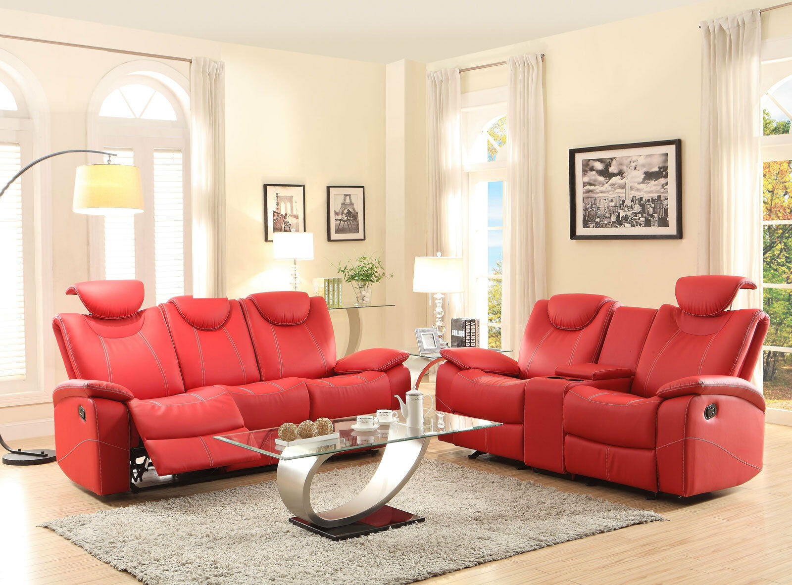 Modern Living Room Couch Set Red Bonded Leather Reclining