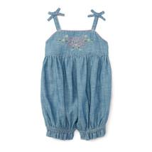 Ralph Lauren Baby Girls Embroidered Chambray Shortall - $29.50