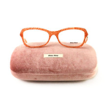 New Miu Miu Eyeglasses VMU 05L KA4 101 Orange/Gold Acetate 52 17 140 Authentic - $70.30