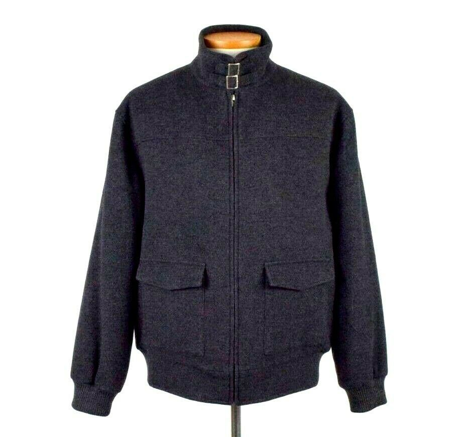 Primary image for Roundtree & Yorke Charcoal Black Wool Bomber Jacket Cafe Racer Chin Strap Mens L