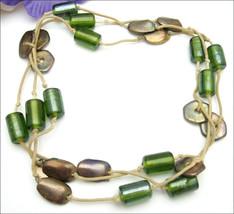 MANOUK  NECKLACE Vintage Olive Green Glass Beads  Goldtone on Cord Signed - $44.99