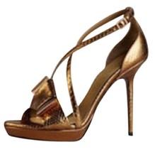 Burberry Golderton Bronze Snakeskin leather  PYTHON BOW High Heel Sandals 37 - $130.67