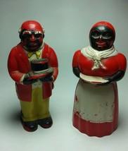 Vintage 1950s Aunt Jemima & Uncle Moses Plastic F&F Salt & Pepper Shakers - $32.22