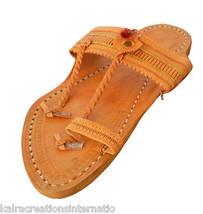 Men Slippers Traditional Indian Handmade Kolhapuri Leather Flip-Flops US 9 - $34.99