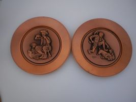 Pair of Norman Rockwell Limited Edition Numbered Copper Collector's Plates - $29.99