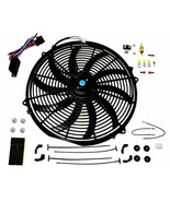 16 inch Electric Radiator Cooling Fan 12v 3000cfm Relay Thermostat Kit - $39.59