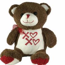 "Dan Dee Brown Valentine Bear 15"" Plush Knit Face Belly Stuffed Animal XO... - $12.86"